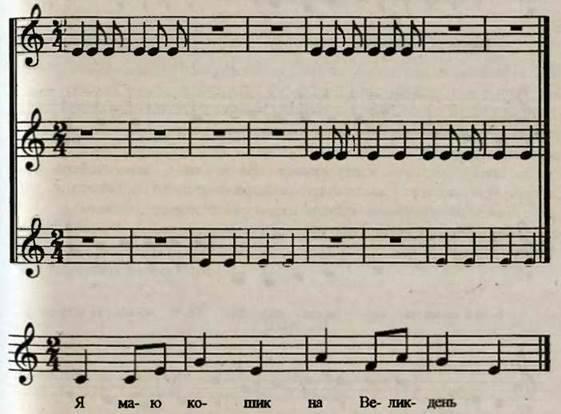 Ритмічна вправа на поділ уваги. Розучування пісні Писанки В. Таповирі. Слухання музики. Варіації для флейти Українські писанки. Л. Дичко