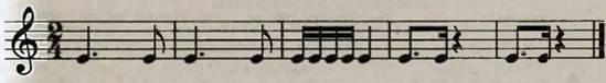 Ритмічна вправа з використанням восьмої з крапкою. Розучування пісні О. Янушкевича Літо золоте. Слухання музики. Українська народна пісня Їхав козак на війноньку