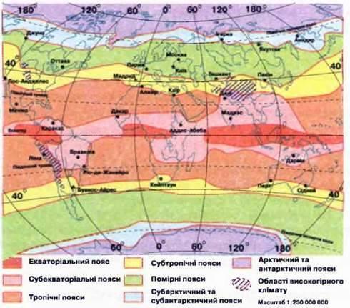 Кліматичні пояси й типи клімату Землі
