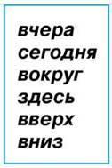 Слова для обозначения действия, места и времени действия